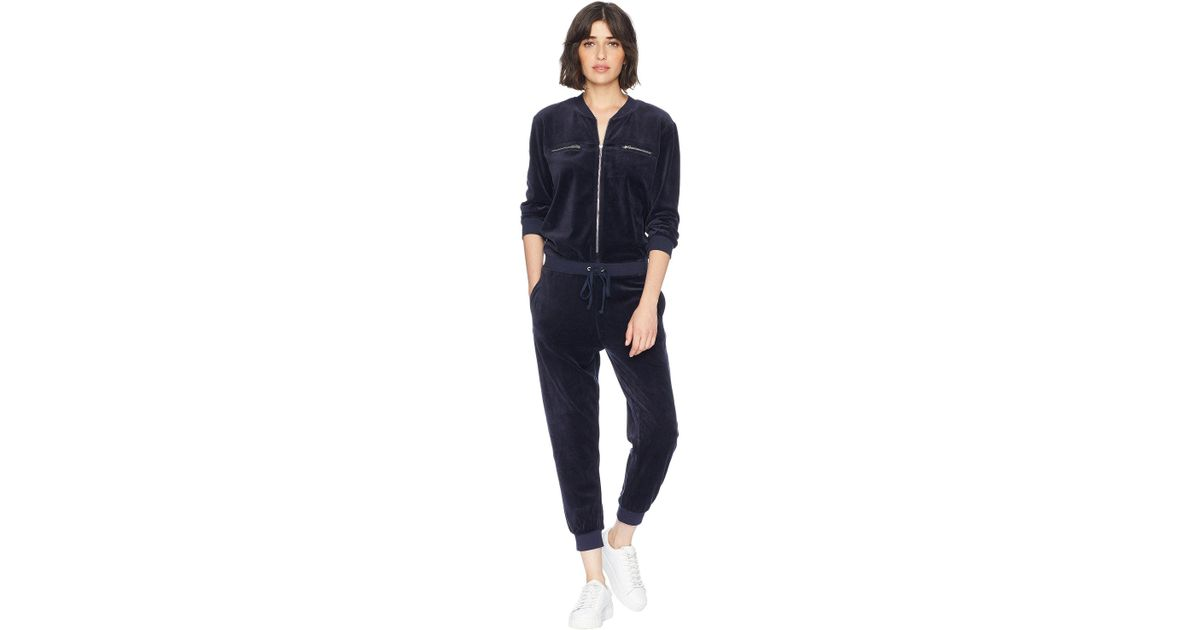 b247fa139e6d Lyst - Juicy Couture Track Velour Encrusted Jc Long Sleeve Jumpsuit in Blue
