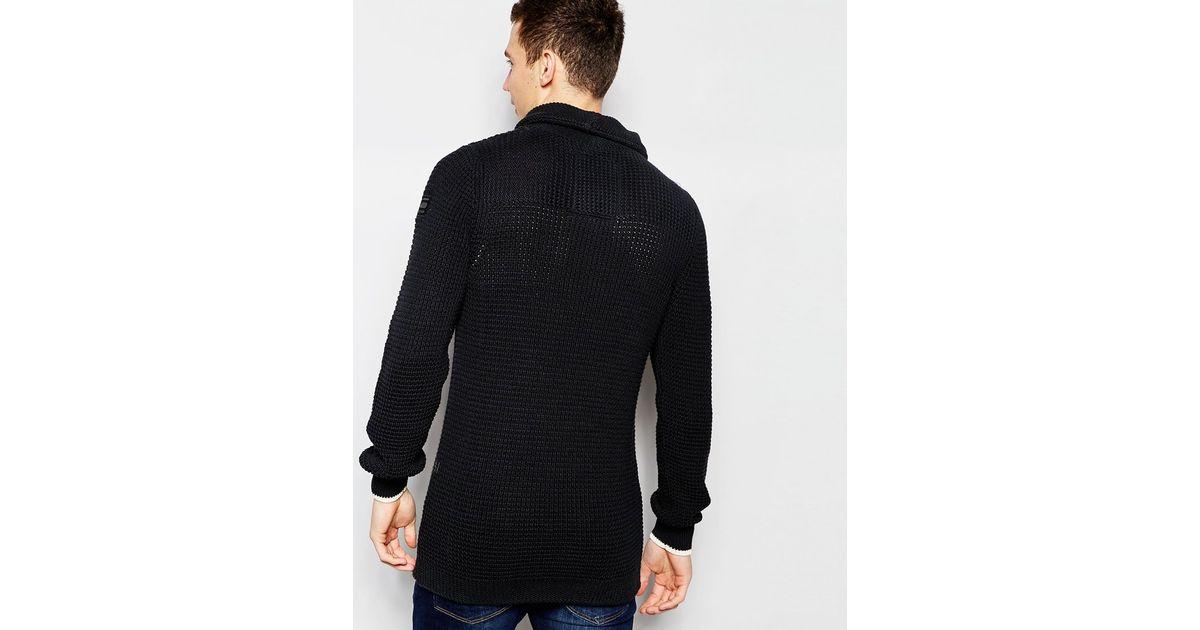 1d370d2fc21 G-Star RAW Shawl Knit Jumper Filler Aero Zip Neck In Black/mazarine Blue in  Black for Men - Lyst
