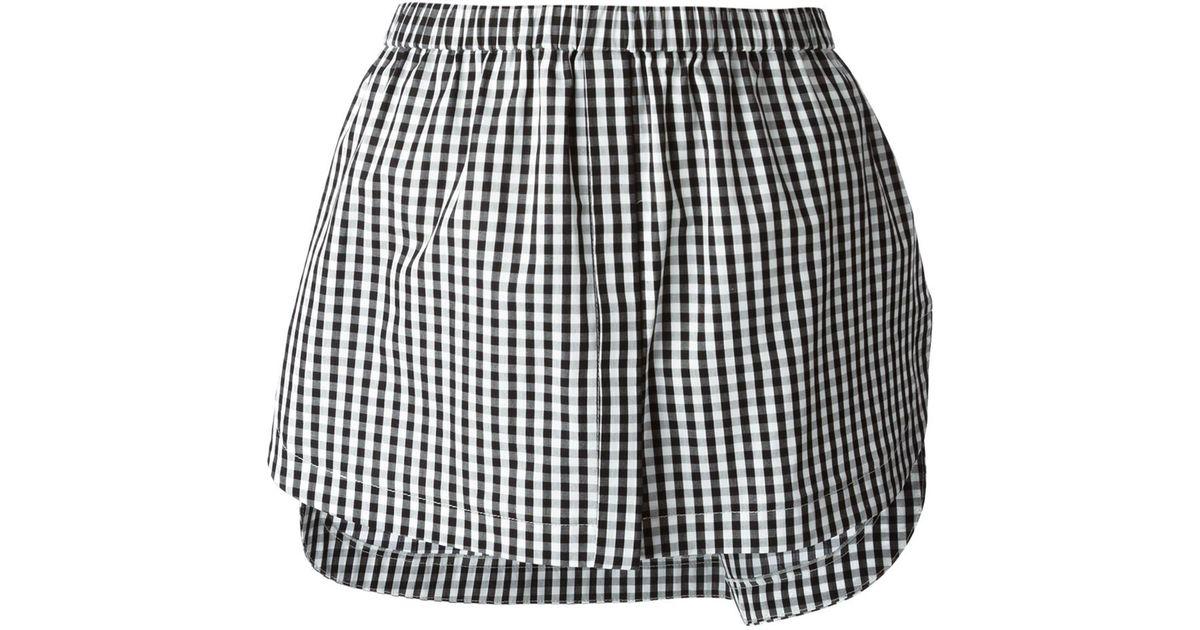 74fde2ad34 Lyst - N°21 Gingham Layered Mini-Skirt in Black