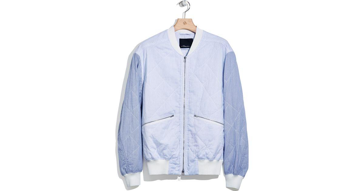 3 1 Phillip Lim Quilted Bomber Jacket In Blue For Men