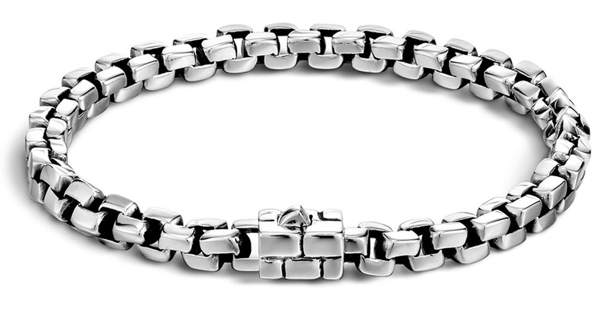 John hardy men 39 s silver square link bracelet in silver for for John hardy jewelry factory bali