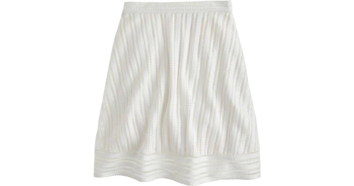 336cace85e7 Lyst - J.Crew Petite Striped Eyelet Skirt in White
