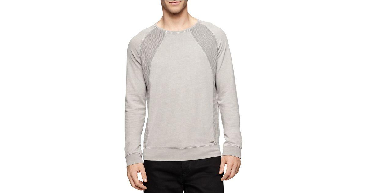 calvin klein jeans acid wash pullover in gray for men lyst. Black Bedroom Furniture Sets. Home Design Ideas