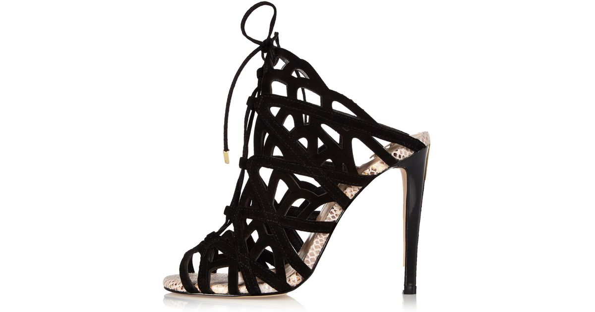 dc6efbb4257 River Island - Black Suede Caged Tie-up Heels - Lyst