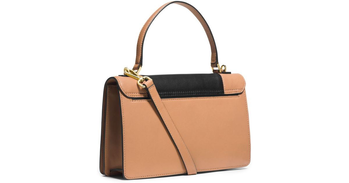 1eb02f9d44a0 Michael Kors Callie Medium Color-Block Leather Messenger in Brown - Lyst