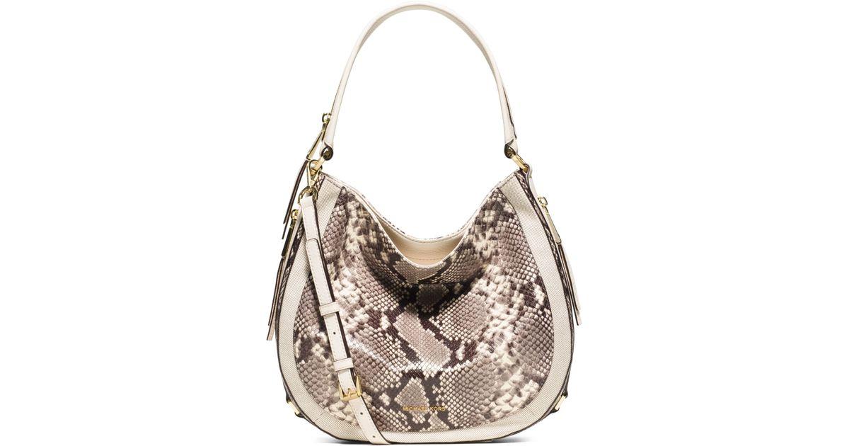 a0cfeb78ff60db Michael Kors Julia Medium Embossed-leather Shoulder Bag - Lyst