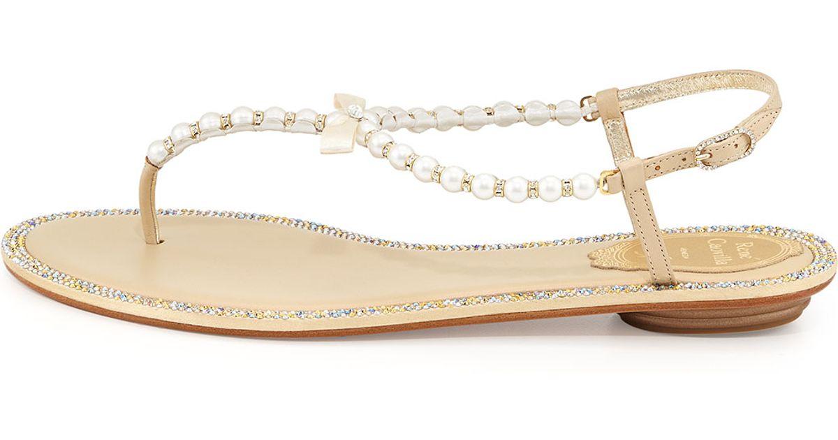 73da937444798 Lyst - Rene Caovilla Crystallized Ankle-wrap Flat Thong Sandal in Metallic