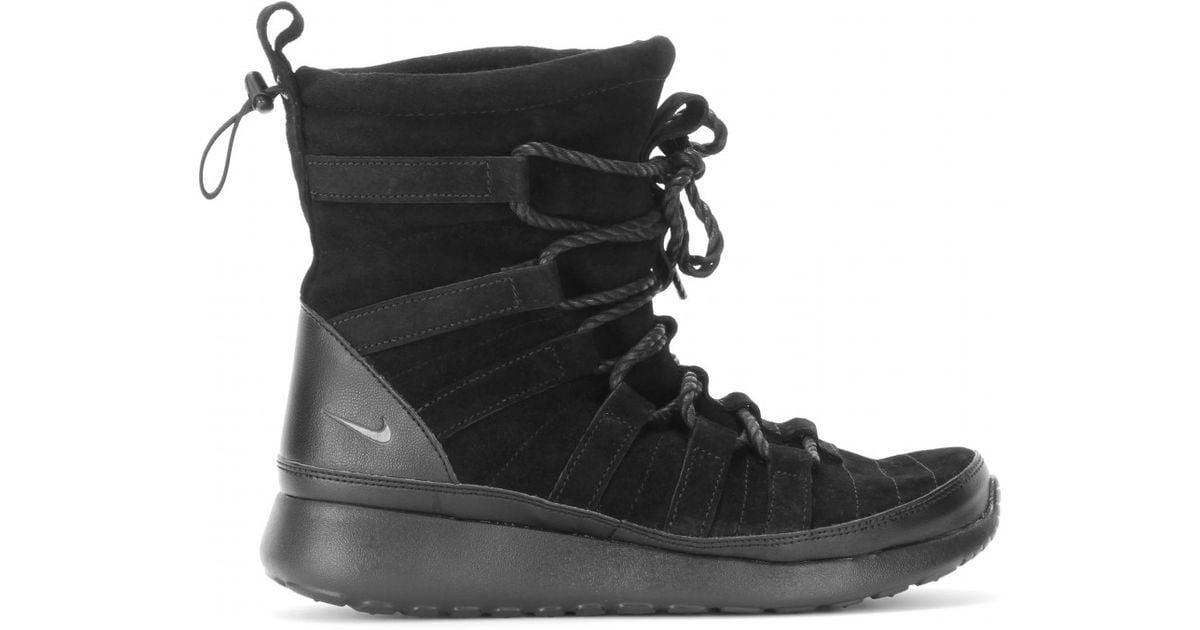 6854b9956ffa Lyst - Nike Roshe One Hi Suede Sneaker Boots in Black