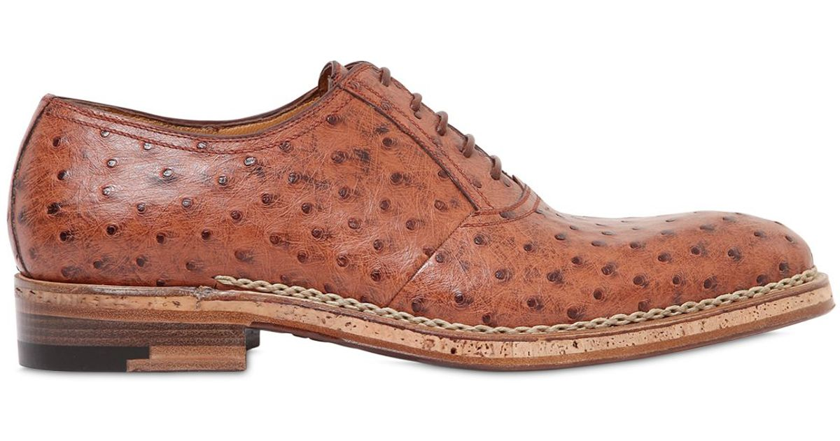 a testoni ostrich leather oxford lace up shoes in brown