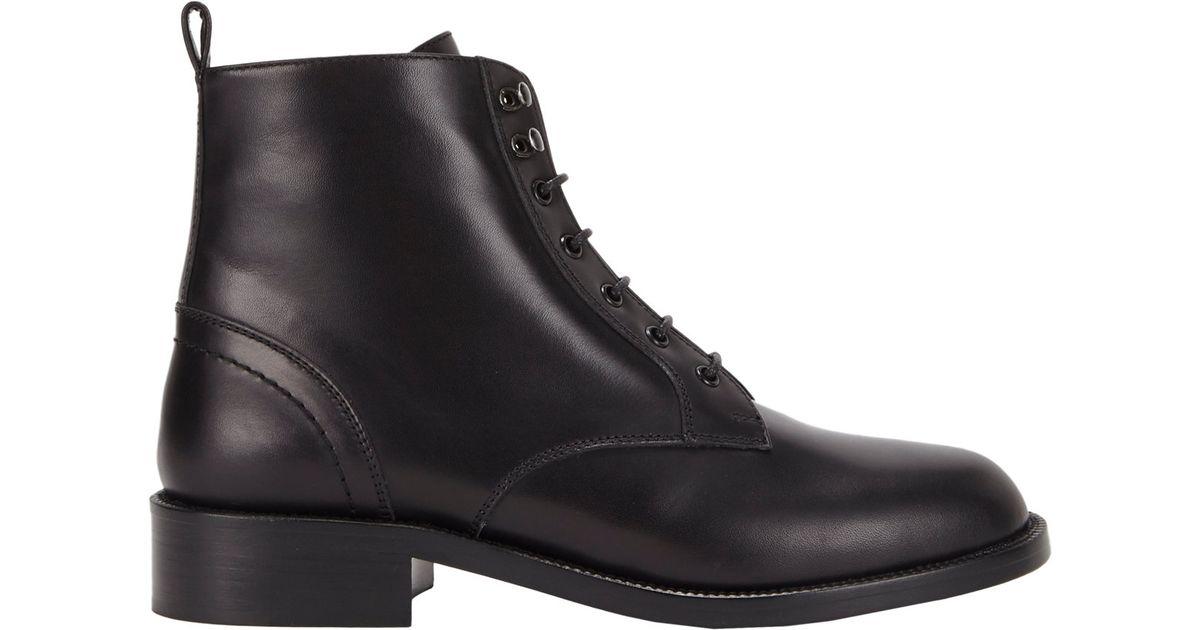04aa9c3f515 Saint Laurent Patti Lace-Up Boots in Black - Lyst