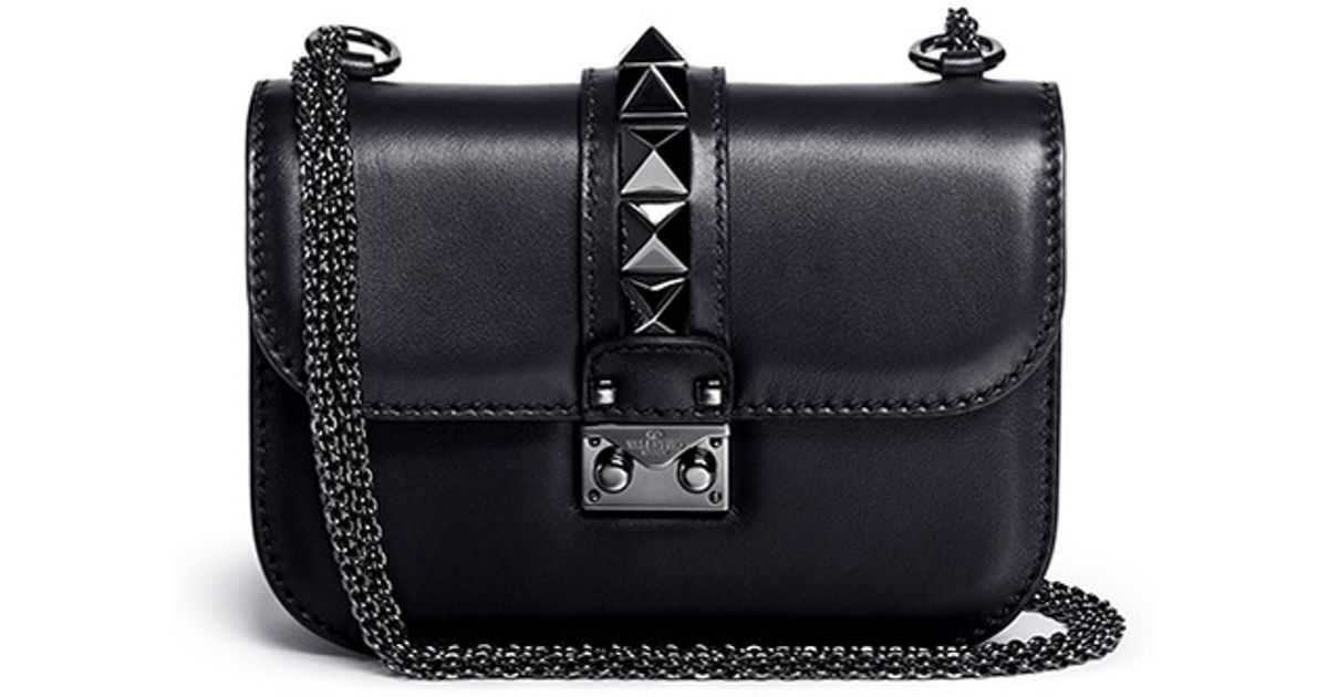 16406a2604a Valentino 'rockstud Noir' Small Leather Chain Bag in Black - Lyst
