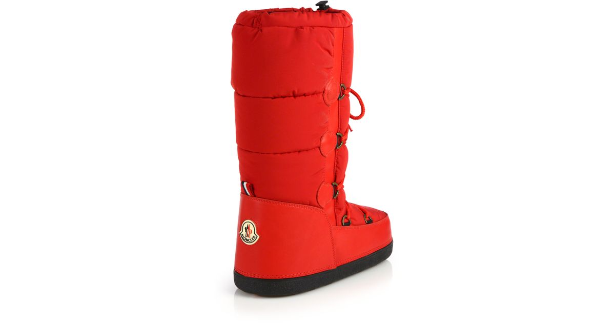 8897fae11a21 Lyst - Moncler Quilted Lace-Up Moon Boots in Red