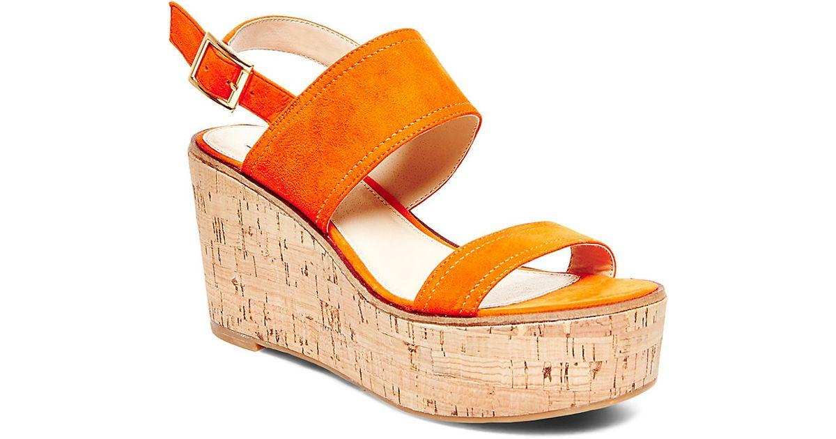 165f4206777 Steve Madden Orange Catlyn Suede Platform Wedge Sandals