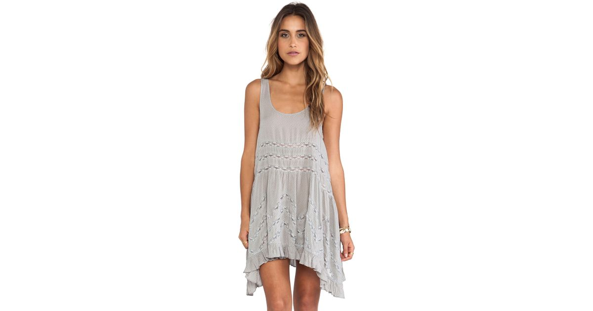 699f8482b78bc Free People Voile and Lace Trapeze Slip in Gray - Lyst