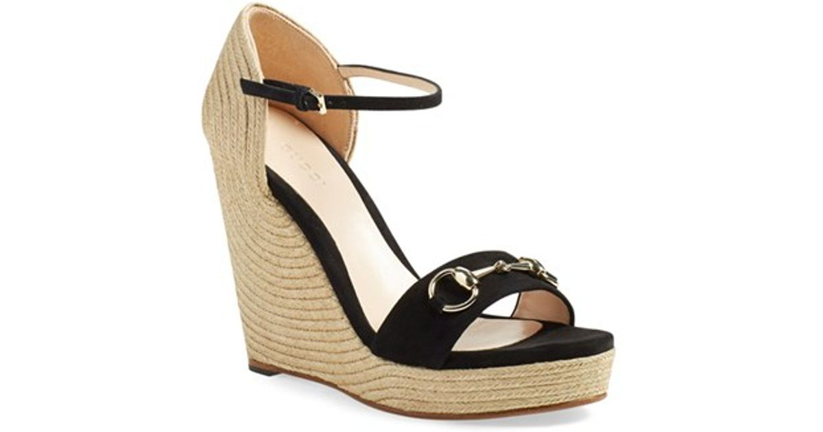 Gucci Suede Carolina Ankle-Strap Wedge