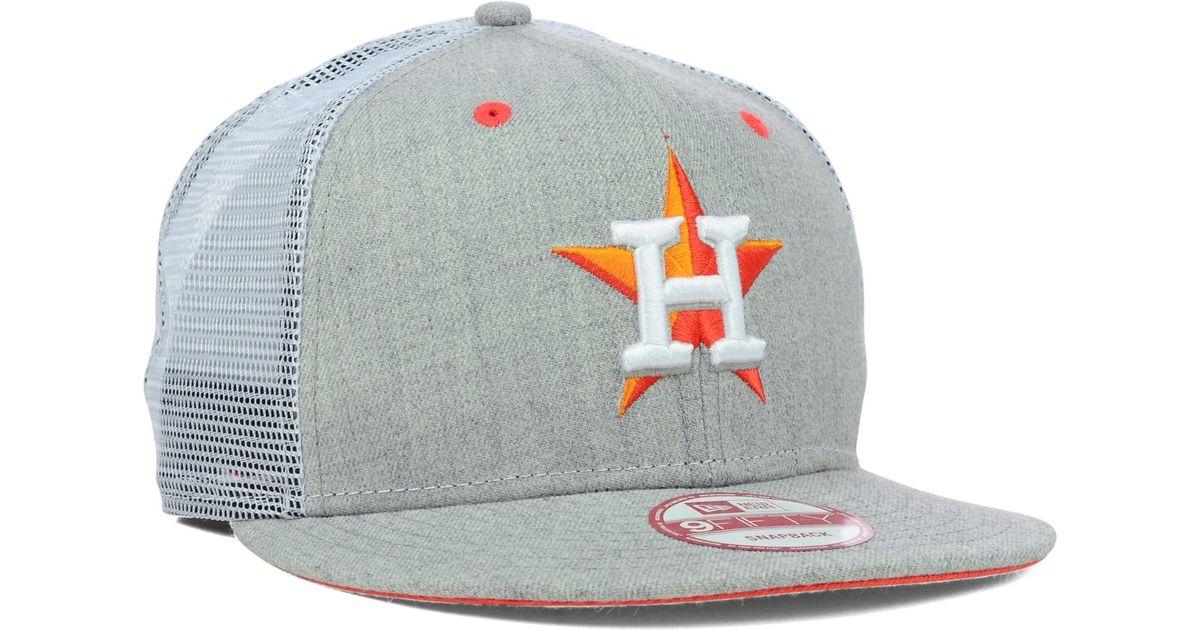 lowest price a339f 79abd KTZ Houston Astros Heather Trucker 9Fifty Snapback Cap in Gray for Men -  Lyst