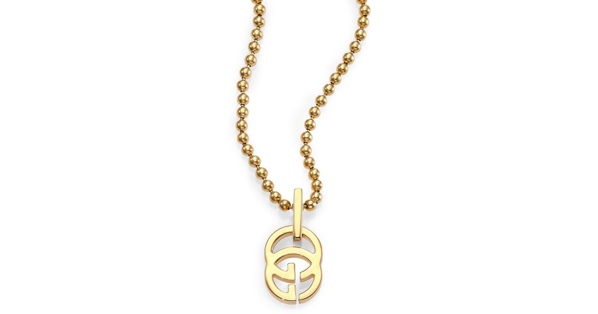 Lyst gucci running g 18k yellow gold pendant necklace in metallic aloadofball Image collections