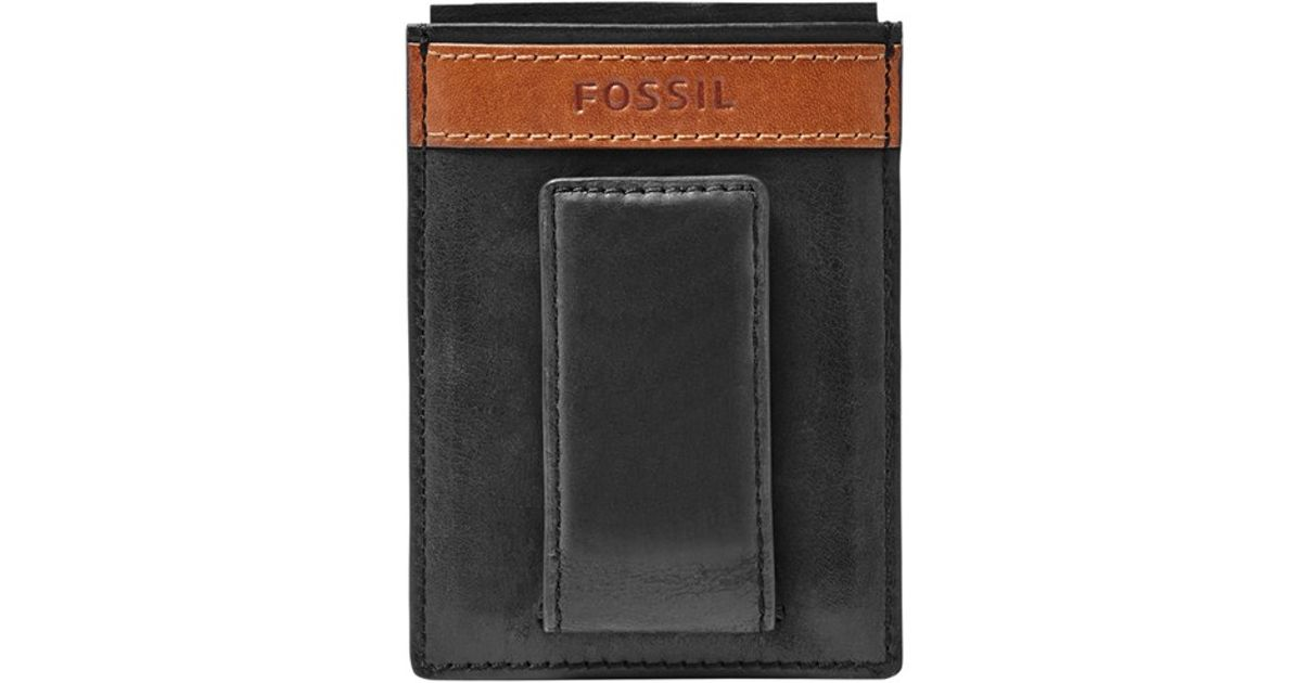 d8f16f1be8ab Fossil Black 'quinn' Leather Money Clip Card Case for men