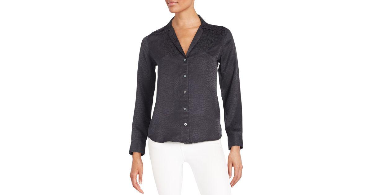Equipment adalyn snake print silk blouse in black true for Equipment black silk shirt