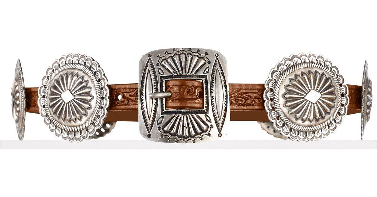 Ralph Lauren Metallic Concho Buckle Leather Belt
