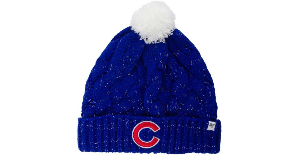 Lyst - 47 Brand Women s Chicago Cubs Fiona Pom Knit Hat in Blue d4d84b36ccc