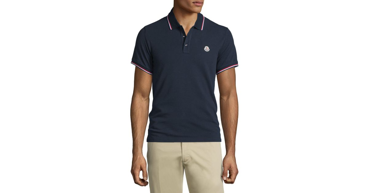 ebbaeec78a3d Lyst - Moncler Navy-tipped Short-sleeve Pique Polo Shirt in Blue for Men