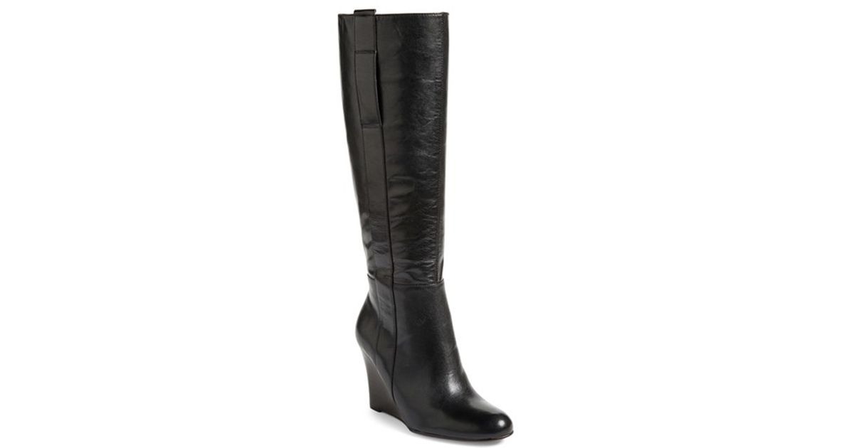 e4fb7004aad7e Nine West Oran Leather Knee-High Wedge Boots in Black - Lyst