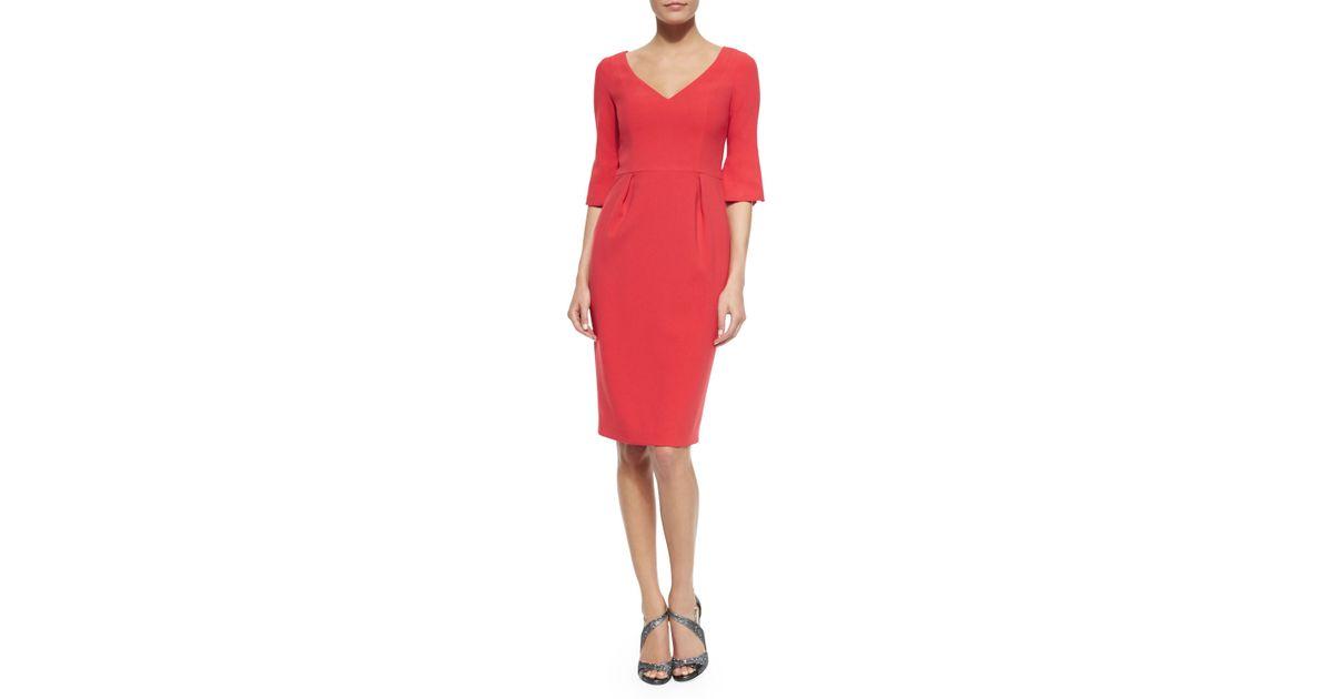31ab4c89ce6 Lyst - Black Halo Ponte V-neck Sheath Dress in Pink