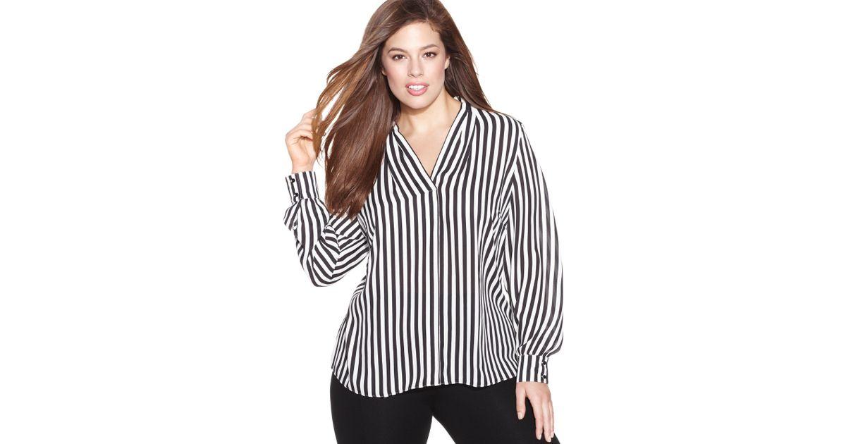26a5b8de3291a Lyst - INC International Concepts Plus Size Longsleeve Striped Blouse in  White