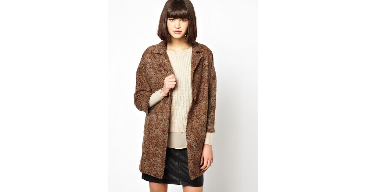 Helene berman Classic Car Coat in Textured Wool Mix in Brown | Lyst