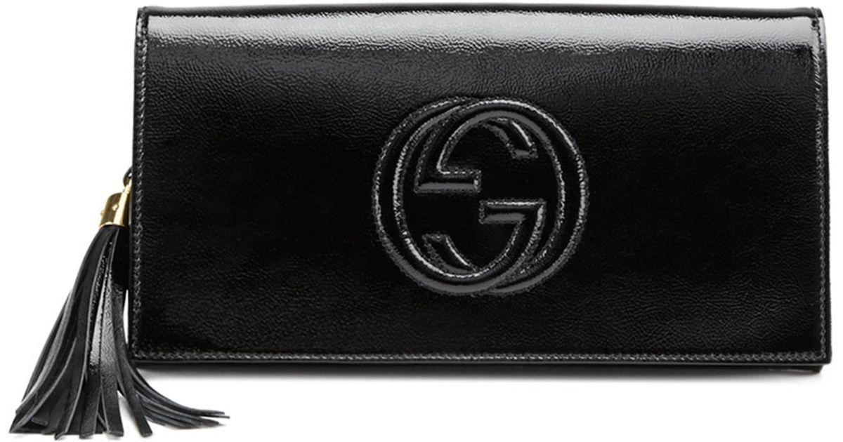 b0d223fdf8f9 Gucci Soho Patent Leather Clutch Bag in Black - Lyst