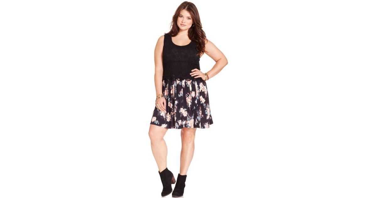 Lyst American Rag Plus Size Sleeveless Crochet Floralprint Dress