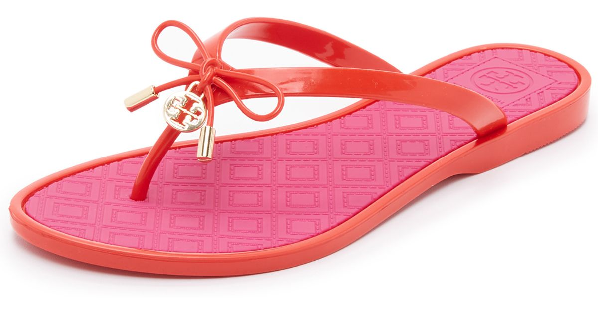 35b7c35b444 Lyst - Tory Burch Two Tone Jelly Bow Thong Sandals