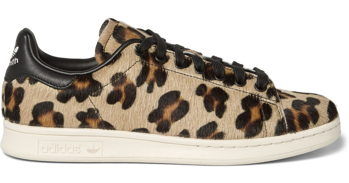 adidas originals stan smith leopard-print pony hair sneakers in ...