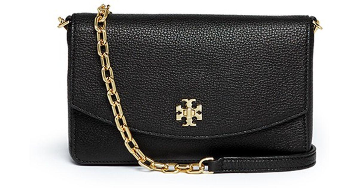 e4a1282d8191 Tory Burch  mercer Classic  Logo Lock Leather Crossbody Bag in Black - Lyst