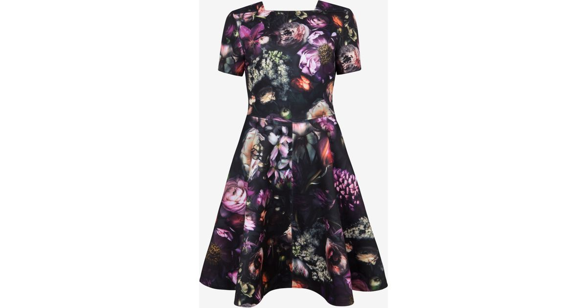 8dac0f6afd532 Lyst - Ted Baker Deony Floral-print Buckle-detail Dress in Black