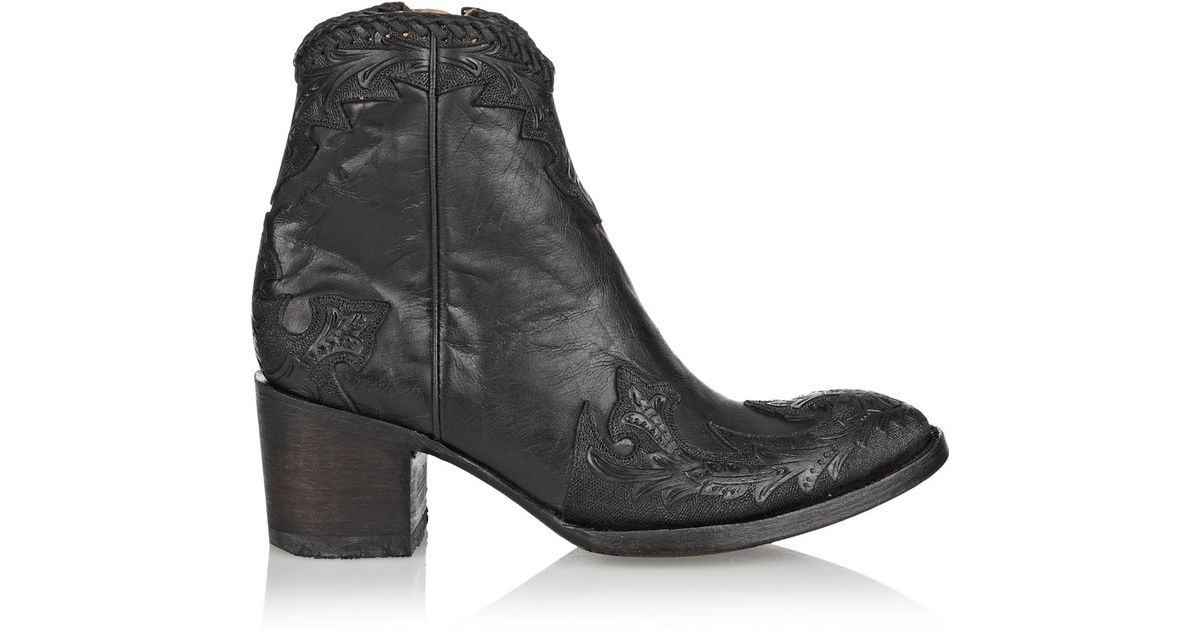 481afd4377c26 Lyst - Mexicana Venice Appliquéd Leather Ankle Boots in Black