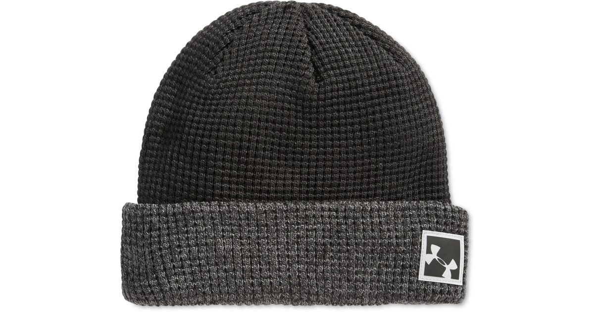 f2ee0062e85 Lyst - Under Armour Waffle Cuff Beanie in Black for Men