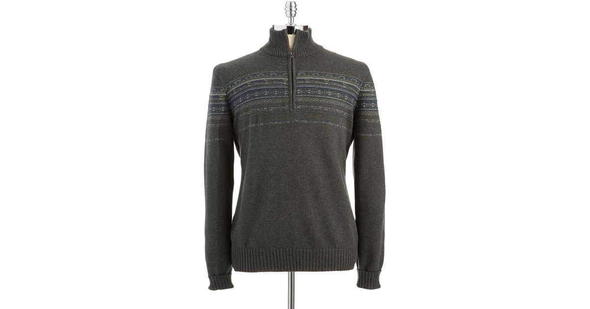 Calvin klein Fairisle Half Zip Sweater in Gray for Men   Lyst