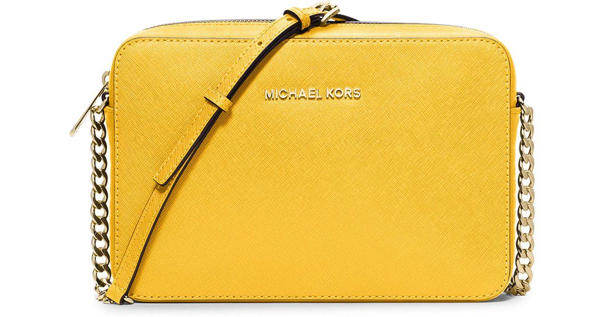 Michael Kors Yellow Jet Set Travel Large Crossbody Bag