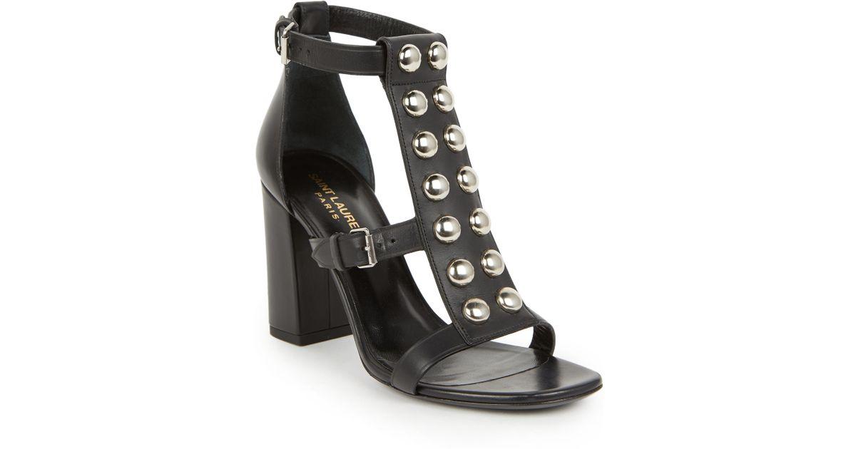 Sandals Laurent Babies Saint Leather Black Studded 5R4LAj