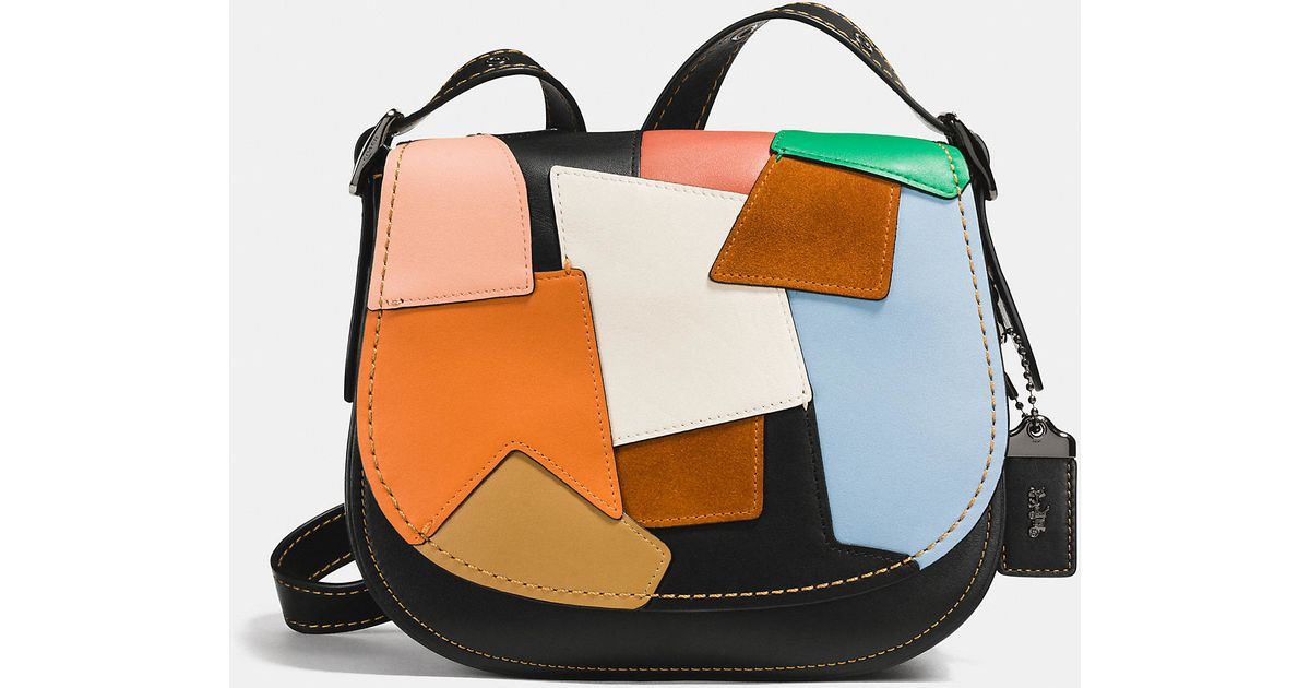 Coach Black Saddle Bag 23 In Patchwork Leather