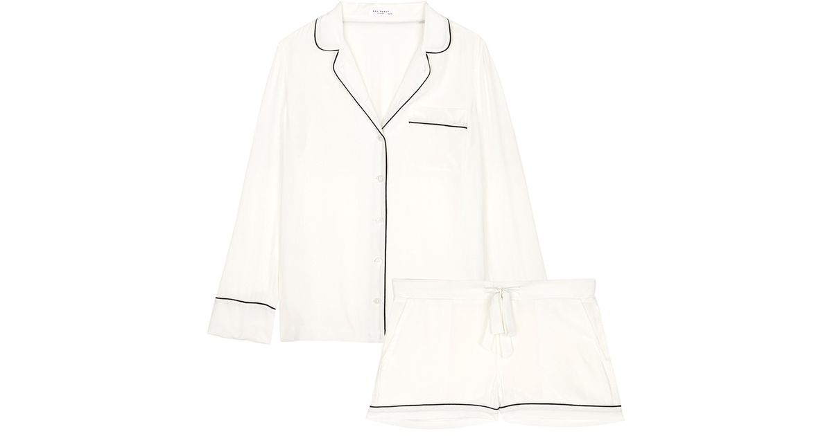 Lyst - Equipment Lillian Silk Pajama Set in White ba38c42ed