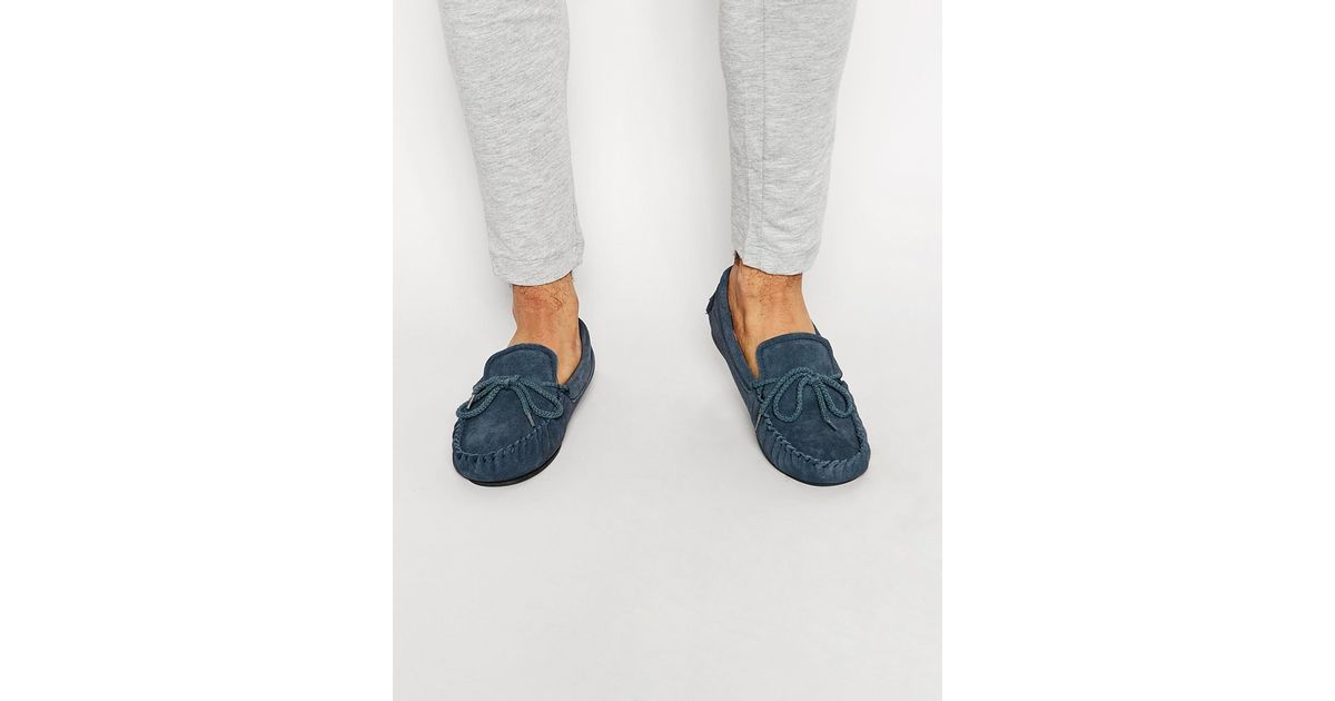 Dunlop Suede Slippers in Blue | Lyst