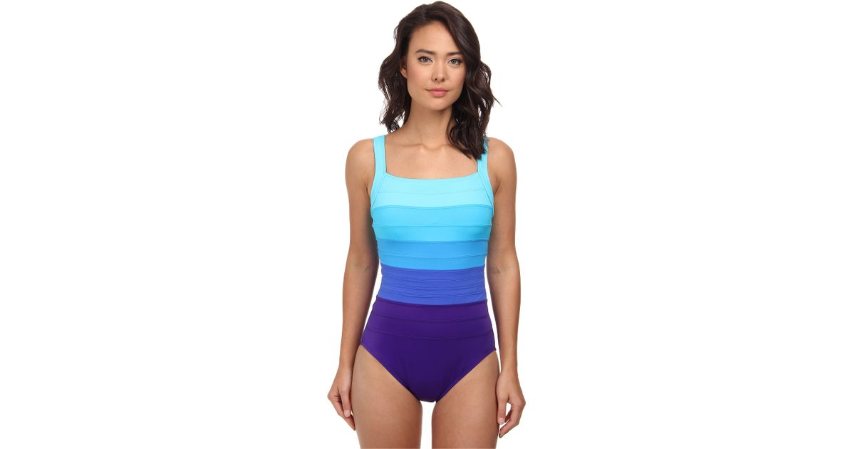 e58a5e9c21b Miraclesuit Spectra Band-it Square Neck Swimsuit in Purple - Lyst