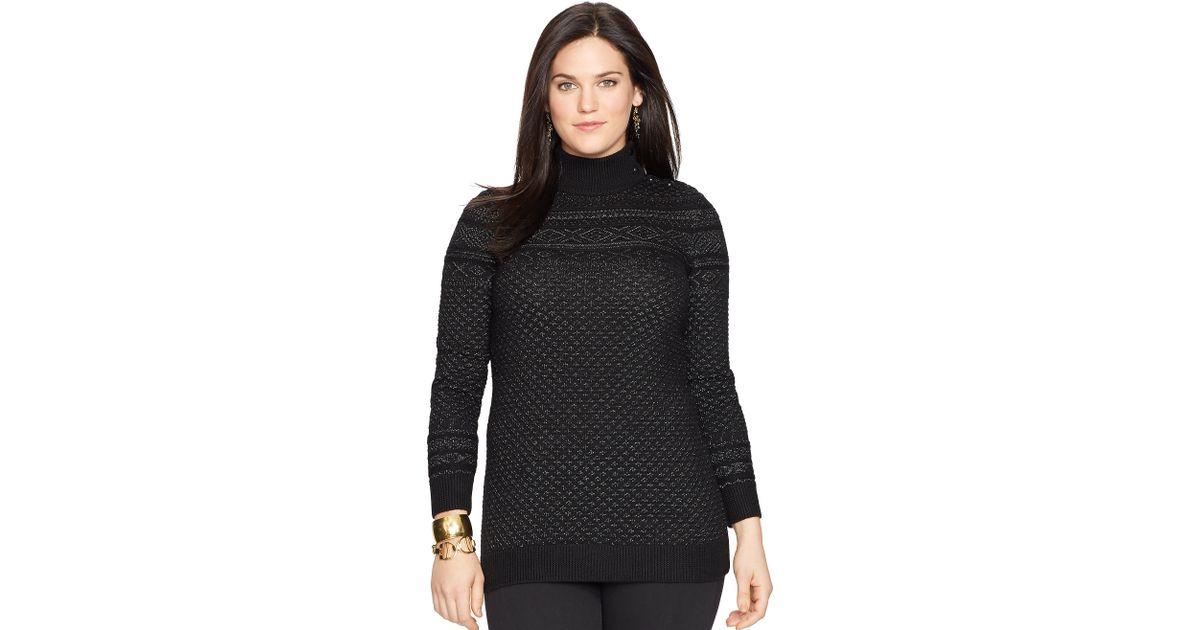 Ralph lauren Fair Isle Tunic Sweater in Black | Lyst