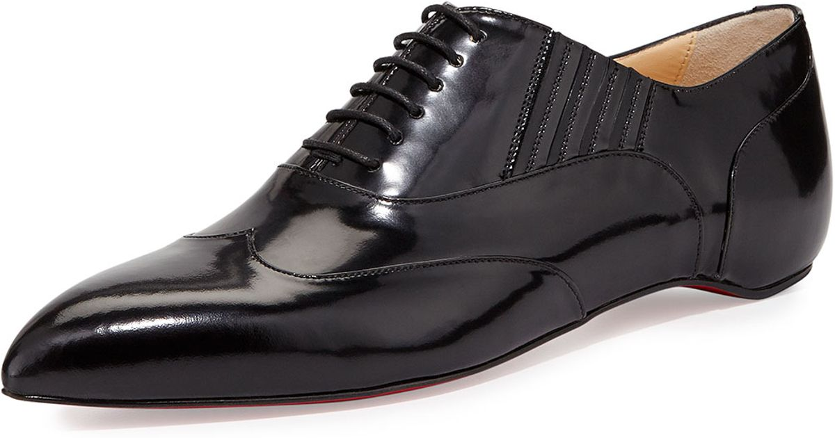 best service 08672 3a0dd Christian Louboutin Black Polished Pointy-toe Red Sole Oxford for men
