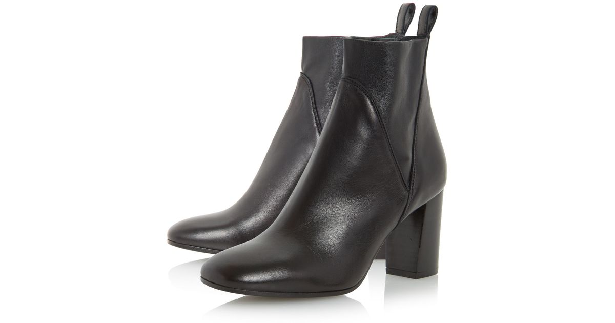 dune black powa stretch leather heeled ankle boots in