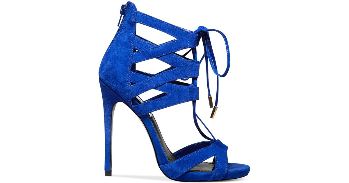 382d9b0ea41 Lyst - Steve Madden Womens Maiden Lace Up Sandals in Blue