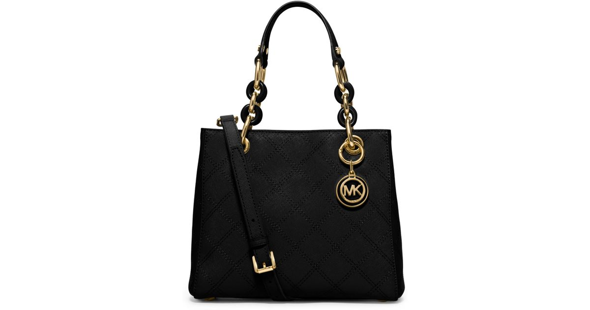 michael kors cynthia small saffiano leather satchel in black lyst. Black Bedroom Furniture Sets. Home Design Ideas